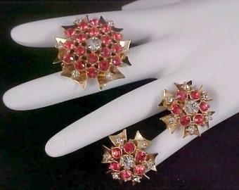 Delightful Pink/Peach Watermelon Rhinestone & Diamante Demi Parure - Brooch AND Screw B. Earrings