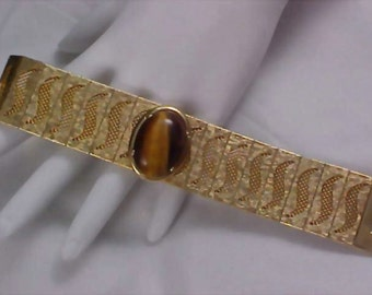 Free Ship ~ Exquisite Victorian Style Massive TIGER EYE -  Gold Mesh & Gilt Gold Wide  BRACELET