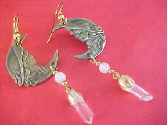 Victorian Style BRASS Precious Boy & Girl Dangle Earrings