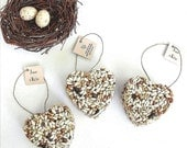 100 Bird Seed Heart Wedding Favors Free Personalized Tags handmade by Nature Favors