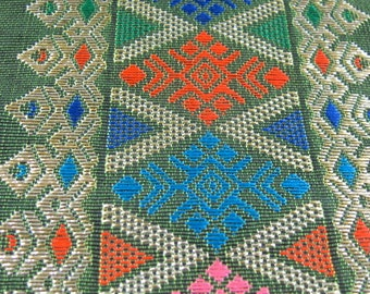 Gorgeous Embroidered Trim from Laos, Wide, 32 Inches Long, Traditional, Ethnic Trim, Laotian, Sewing