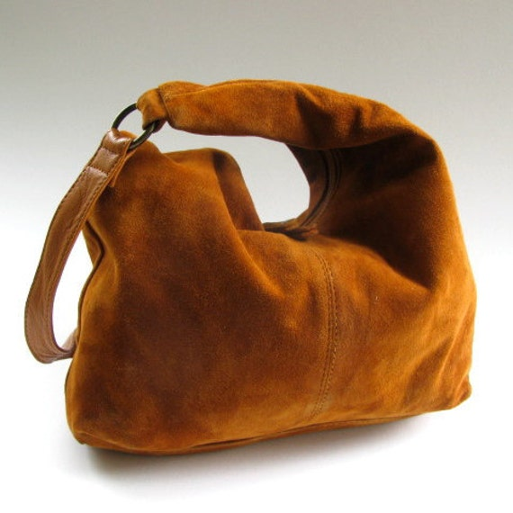 1970's Boho Suede Purse, Made in India