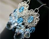 SALE - WINTERS KISS - Swiss Blue Topaz and Crystal Quartz Fine Sterling Silver Earrings