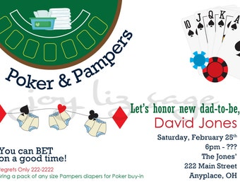 Poker and Pampers Diaper Shower - Digitial File Only - Print option available