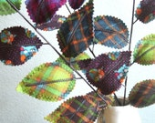 Fabric Leaves - Woodland Owl Plaid Branches Unique Gift Idea Free Shipping Etsy Sale
