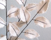 Fabric Leaves - Winter White Linen Branches (set of 3)