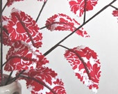 Fabric Leaves - Red and White Damask Branches Christmas Gift Idea (set of 3)