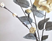 Fabric Leaves and Flowers Yellow Grey Pinstripe Linen Mixed Bouquet