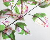 Fabric Leaves - Upcycled Hearts and Flowers Spring Branches (set of 3)