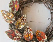 Fabric Leaf Wreath - Autumn Fall Harvest Wall Decor - LAST ONE!