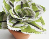Fabric Leaf Potted Plant - Lime Green Zebra Stripe Animal Print Succulent