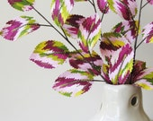 Fabric Leaves- Cranberry Pink Lime Green Ikat Chevron Zigzag Branches (set of 3)