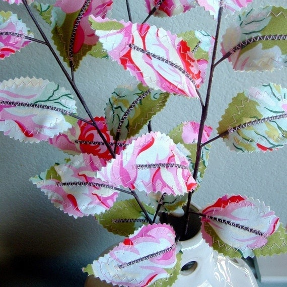 Fabric Leaves - Pink Roses Branches (set of 3)