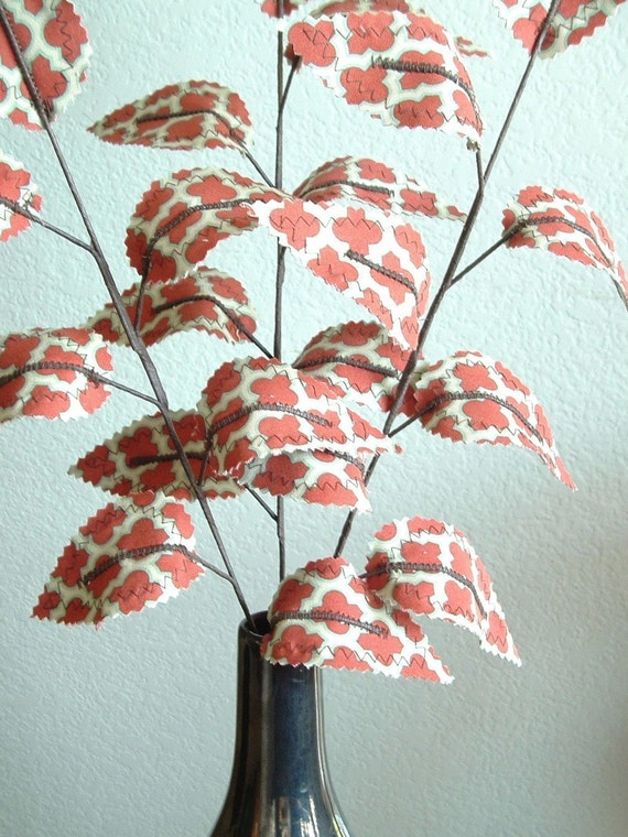 Fabric Leaves - Rust Red Teal Tile Branches (set of 3)