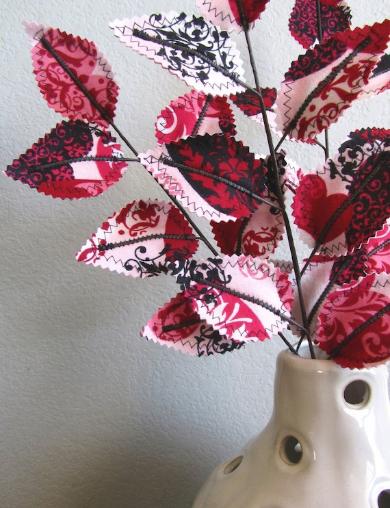 Fabric Leaves - Valentine Heart Branches Christmas Gift Free Shipping Etsy Sale