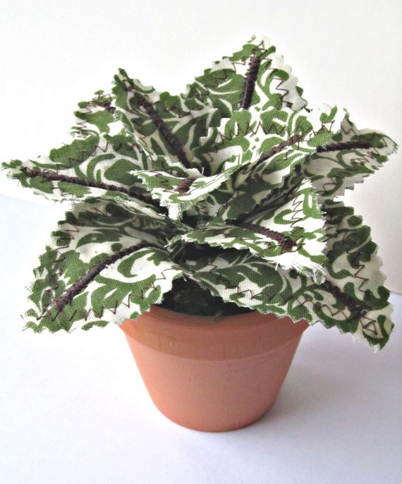 Fabric Leaf Potted Plant Garden Green Linen By Janejoss On
