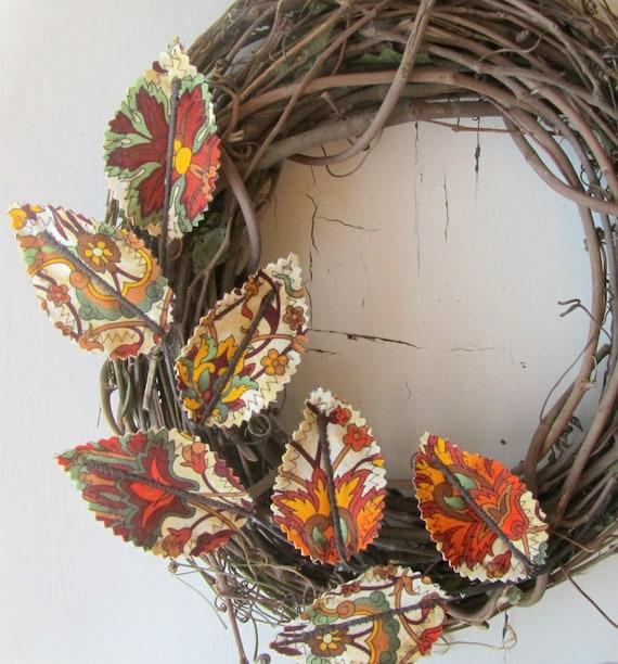 Fabric Leaf Wreath Autumn Fall Harvest Wall Decor Last