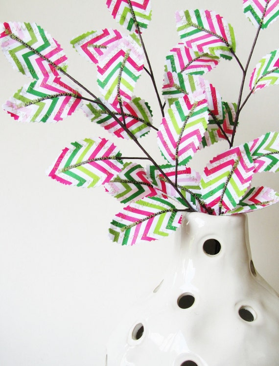 Fabric Leaves - Chevron Pink Lime Green Branches Floral Stems Valentines Day Gift Idea