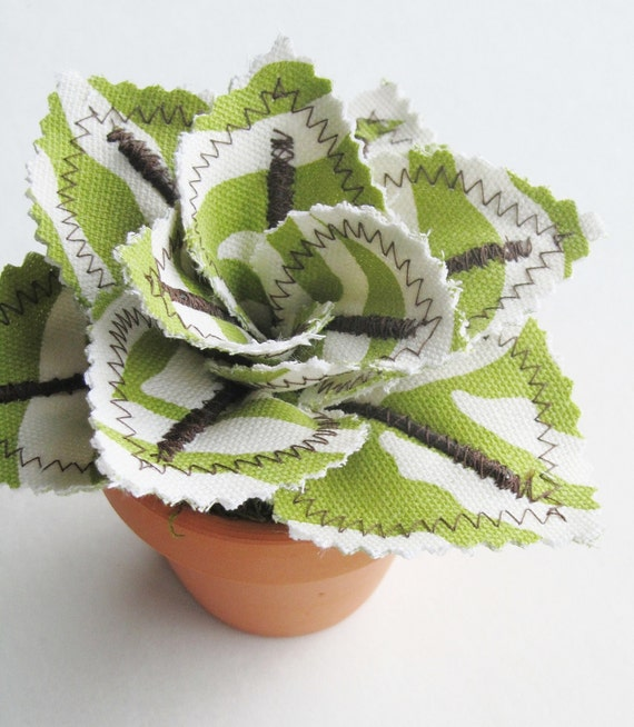 Items Similar To Fabric Leaf Potted Plant Lime Green