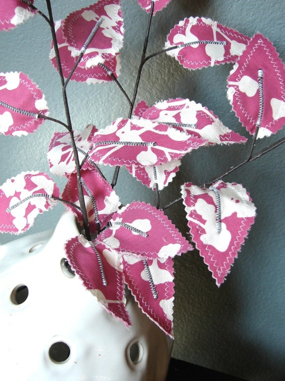 Sweet Leaves - Pretty Pink Fabric Branches (set of 3)
