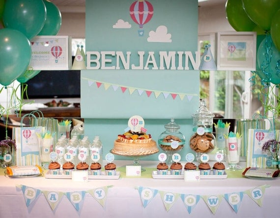 Hot Air Balloon Baby Shower, Hot Air Balloon Birthday, Up and Away Baby Shower DIY Party Package by MayDetails: Full Collection, Party Kit