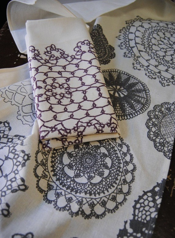doily tea towels - set of two