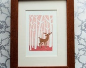 Deer in the Woods Matted Print