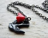 Poppy. Sparrow bird charm, gunmetal necklace, tattoo inspired necklace, red flower, bird charm necklace, poppy red flower.
