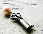 Catherine. Skeleton key necklace, ornate Victorian key, vintage inspired, pink pearl, charm dangle necklace.