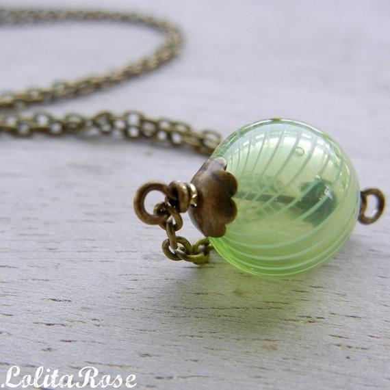 Cassie. Green orb necklace, blown glass bead necklace, brass, green glass bead necklace.