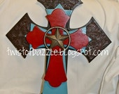 Large Leather, Turquoise and Red Cross topped with a Wrought Iron Star
