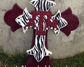 Items Similar To Medium Aggie Cross With Zebra And Glitter