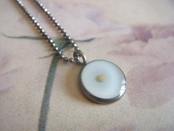 have a little faith...antique silver resin mustard seed pendant with matching ball chain necklace