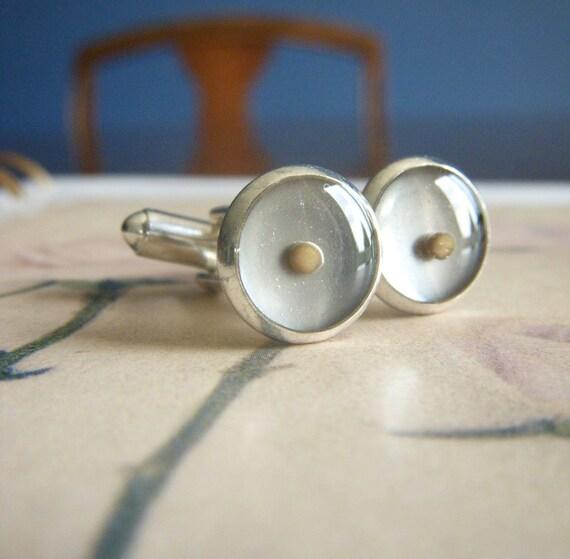 mustard seed of faith - silver resin mustard seed cufflinks cuff links