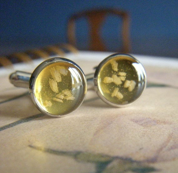 salt and light bright shiny silver and resin cufflinks cuff links