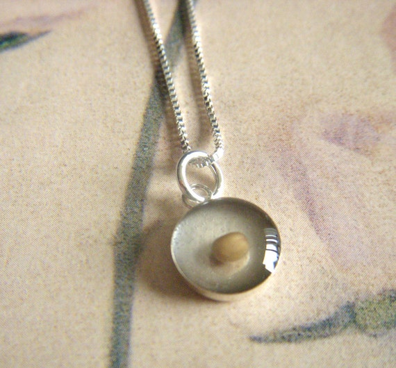 mustard seed of faith necklace - teeny tiny round sterling silver resin pendant  with sterling silver box chain necklace