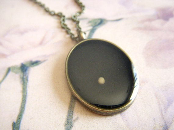 mustard seed necklace - antique bronze resin oval mustard seed pendant with matching necklace