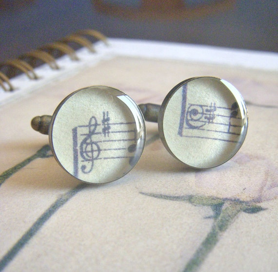 vintage hymnal music treble clef and bass clef pair of antique bronze resin cuff links cufflinks