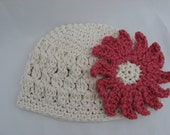 Openweave Puff Stitch Beanie Crochet Pattern Pdf, with Two Flower Blossom Patterns included to choose from. Instant Download available
