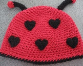 Valentines Day, Lil Love Bug, Lady Bug Hat Crochet Pattern pdf ,all sizes included, newborn- adult