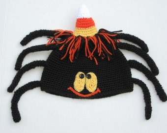 Halloween Candy Corn Spider Crochet Hat Pattern, Instant Pattern Download Available