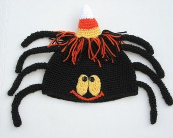 Halloween Candy Corn Spider Hat, Crochet Pattern Pdf, Instant Download Available