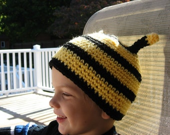Busy Little Bee Bumble Bee Crochet Hat Pattern pdf  5 sizes, newborn - adult ,included