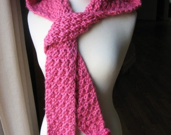 Knitting Pattern, Hometown Hooded scarf with pom poms, pdf pattern, Instant Pattern Download Available