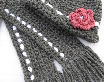 Crochet Market Style Hat with Rosette Blossom and Matching Scarf ,Crochet Pattern pdf, Instant Pattern Download Available