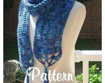 Oceana Openwork Scarf , Crochet Pattern Pdf, Instant Pattern Download Available