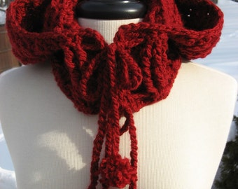 Crochet Pattern, Hooded Ribbed Cowl with drawstring ties,and pom poms too