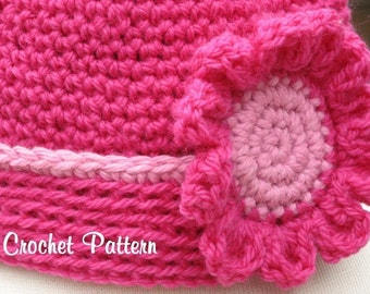Rolled Edge Hat with Matching Flower Blossom ,Crochet Pattern Pdf, Instant Download Available