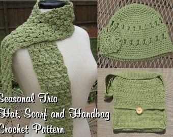 Seasonal Trio, Hat, Scarf and Handbag Combo Crochet pdf Patterns ,all 3 for only 5.99