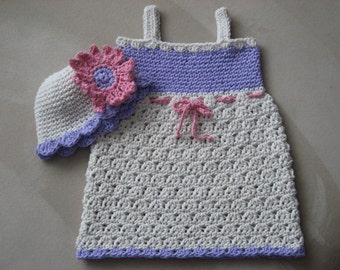 Sweet Summer Sundress and Matching Hat crochet pattern pdf 6 sizes included newborn-child, Instant Download Available